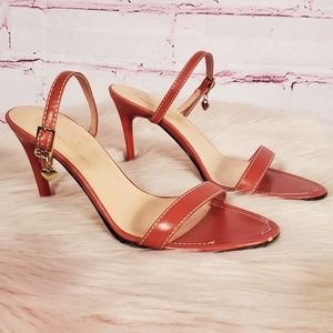 Escada Vintage 90s Red Leather Heeled Sandals